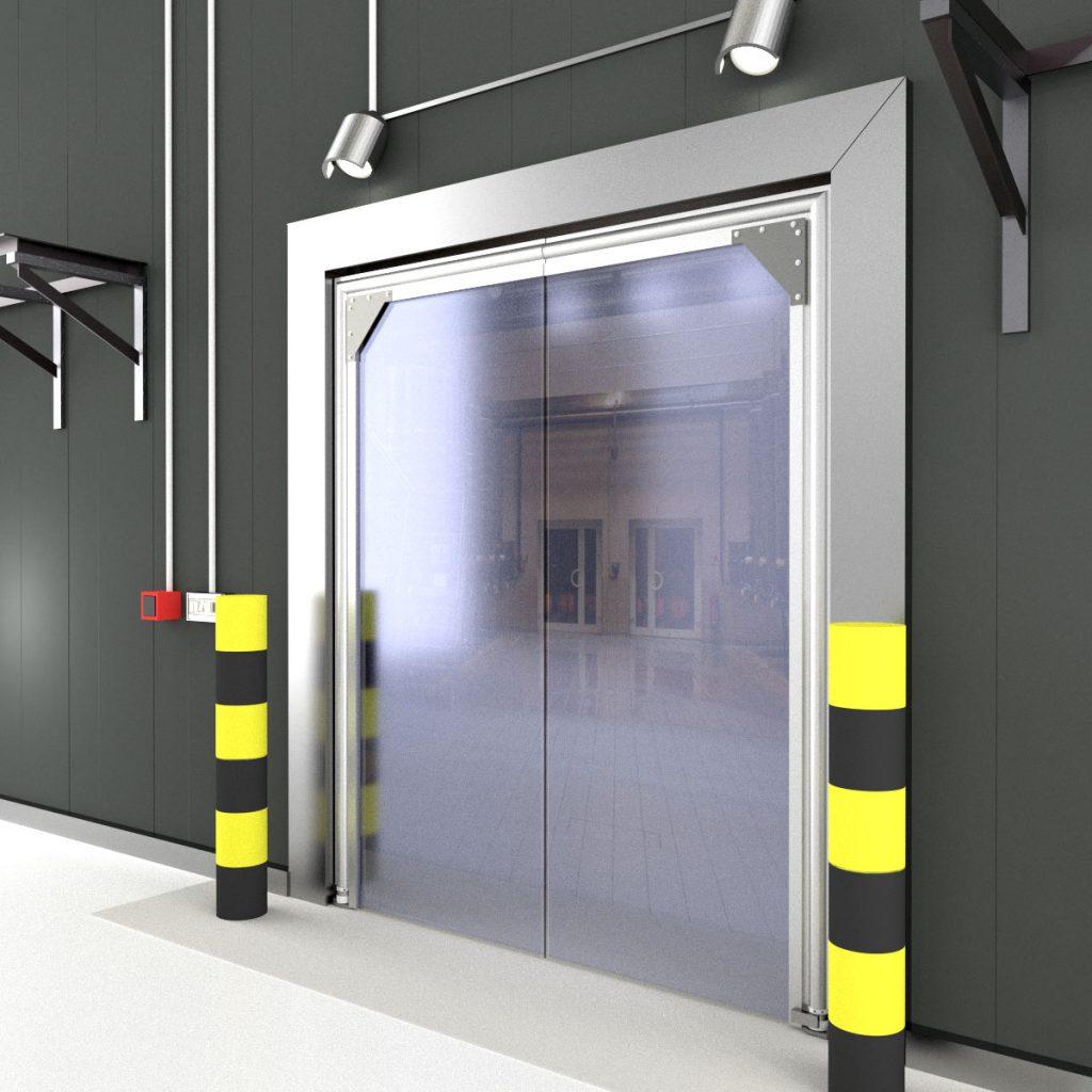 Single panel pvc crash door